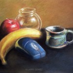 Glass objects with yellow banana, red apple, blue wireless mouse and green ceramic cup