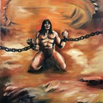 Chained man kneeling with arms raised, looking up to the sky, against orange background.