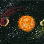 prismacolor pencil on black mat board showing perihelion pun, pear-i-helion, and aphelion or apple-helion, astronomical concepts. Size is 500 x 365 ppi.