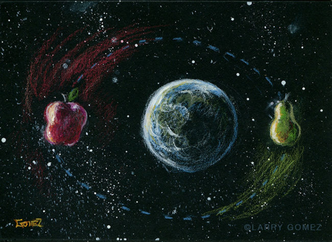 apple and pear orbiting the earth in color pencil against a black mat board. Original art is 6.375 x 4.75 inches. File resolution is 750 x 547 at 72ppi