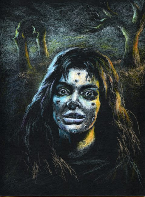 Female face with punctures from spiked masked, against a dark background of a dimly lit graveyard.