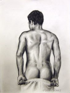 Male figure from the the back, drawn in black and white, pulling down underwear.