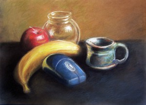 pastel image of banana, apple, transparent glass, green cup and blue wireless computer mouse.