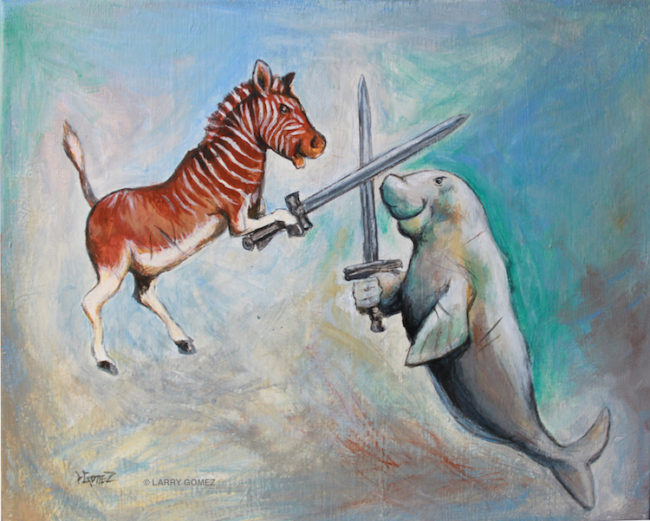 quagga holding a sword fighting a dugong with a sword