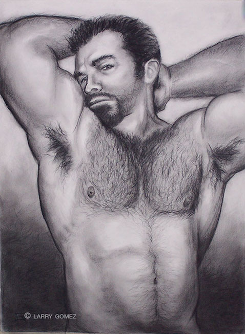 Bearded man with arms upraised, showing hairy aprmpits and hairy chest.