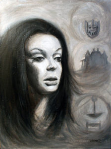 Gray scale painting of woman with dark hair.