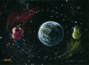apple and pear orbiting the earth in color pencil against a black mat board. Original art is 6.375 x 4.75 inches. File resolution is 500 x 365 at 72ppi