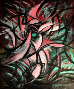 Energetic lines and shapes of colors in pinks, blacks, turquoise, swirling in curved movement. Original is 20 x 24 inches.