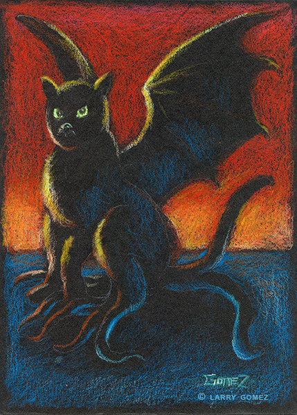 Black cat with bat wings and tentacles for hind legs, against a black background, drawn with Prismacolor pencil, focusing on highlights.