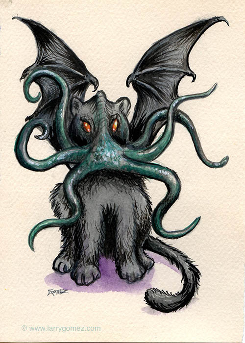 Drawing of black cat with bat wings and green tentacles coming out of its mouth in place of whiskers.