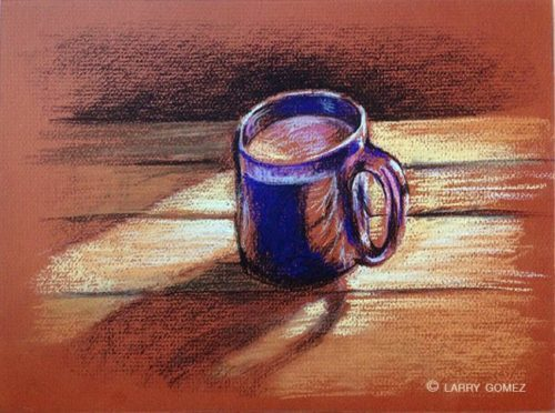 Blue coffee mug on a table in early morning light against a rust colored paper background.
