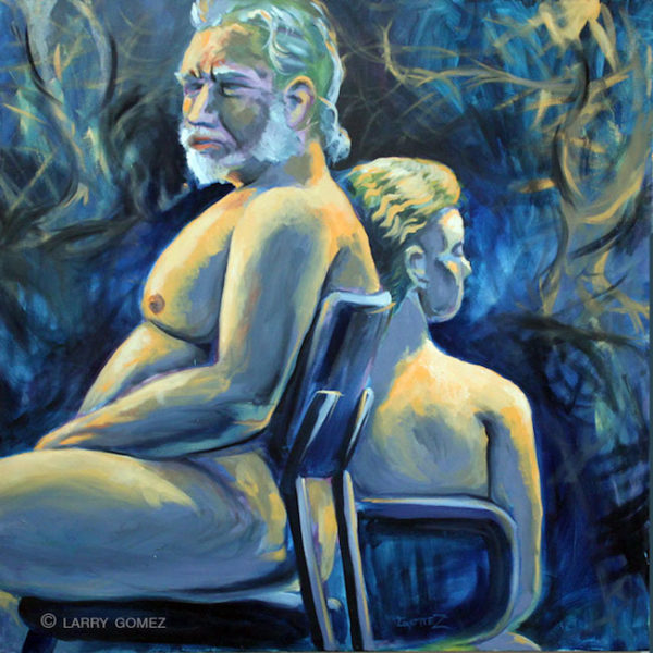 mature man and young woman back to back both on chairs. Blue and orange.