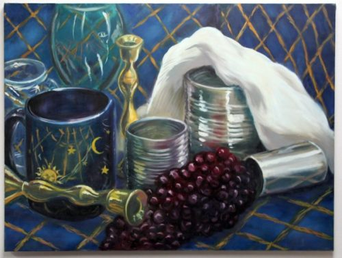 still life with empty cans, blue mug, green goblet, plastic grapes, brass candlesticks.