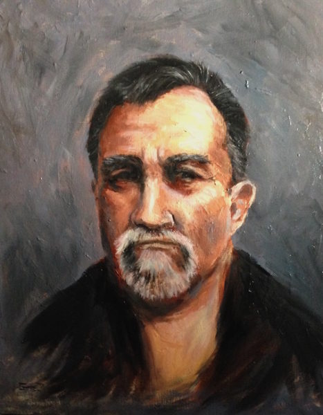 oil painting on canvas of a middle aged man with a goatee, smirking and looking upset.