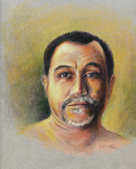 color pencil image of a face in orange, yellow and black, looking at viewer