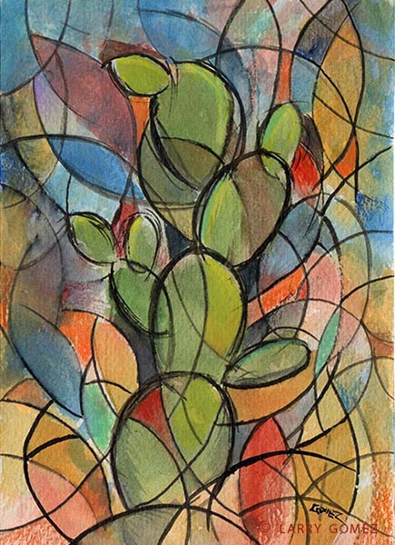 Abstracted depiction of the Nopal or Prickly Pear, cactus.