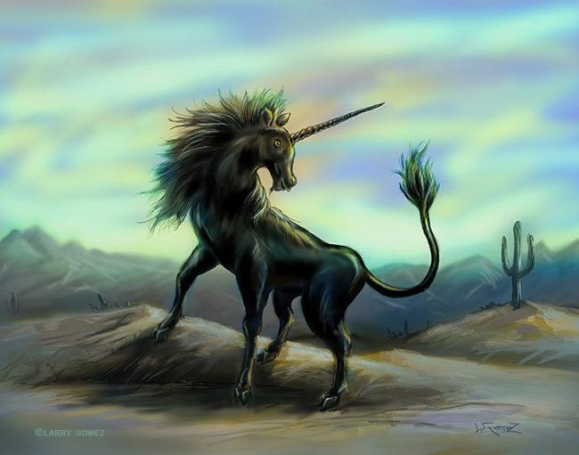 A black unicorn on a small hill in a desert scene.